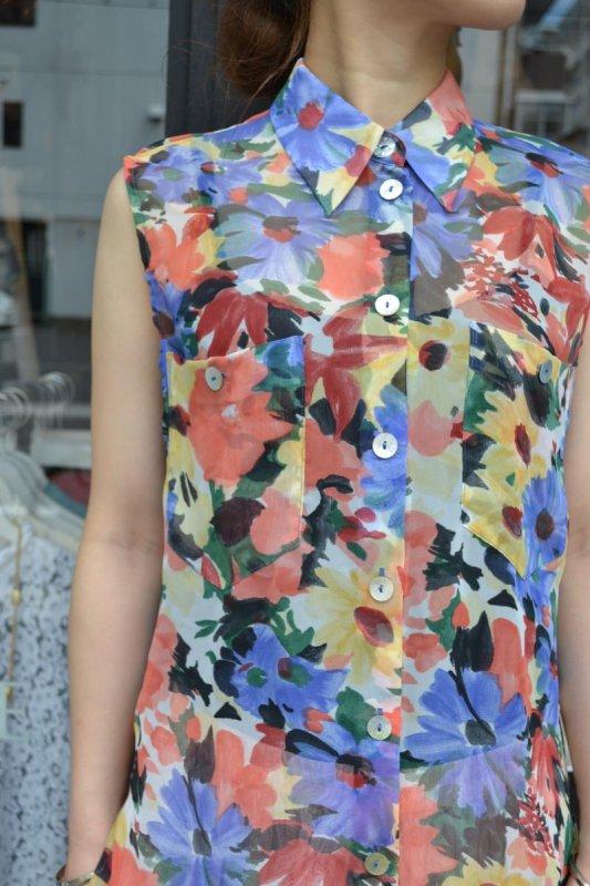 Vintage flower pattern see-through blouse