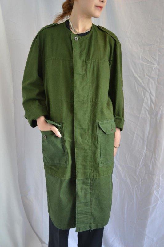 Euro military vintage work coat collarless remake