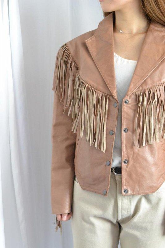 1970's Vintage pink brown Fringe jacket