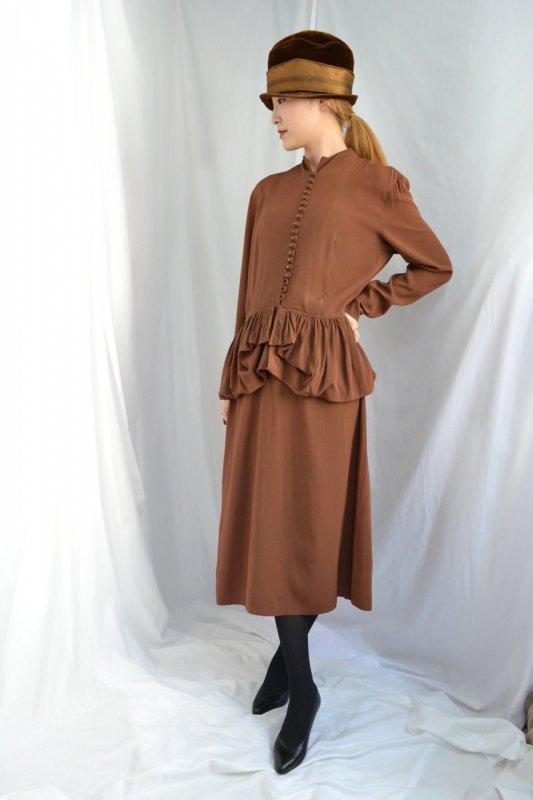 1940's Vintage peplum brown dress
