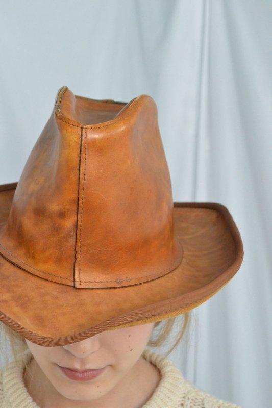Vintage tan leather cowboy hat
