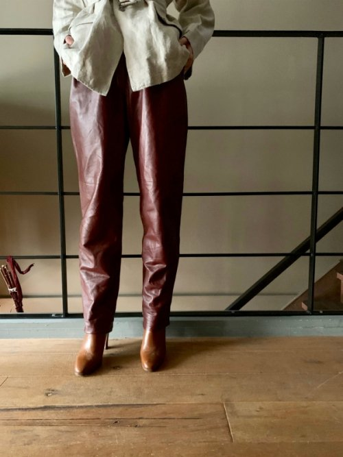 Vintage high waist burgundy leather pants