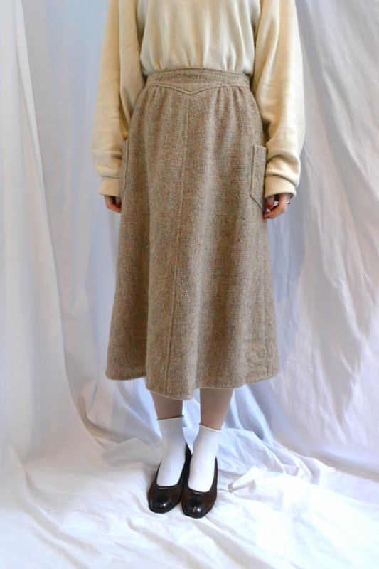 Vintage color nep tweed skirt