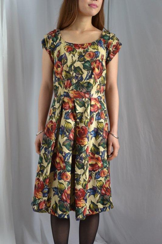 1950's vintage nostalgic tapestry dress