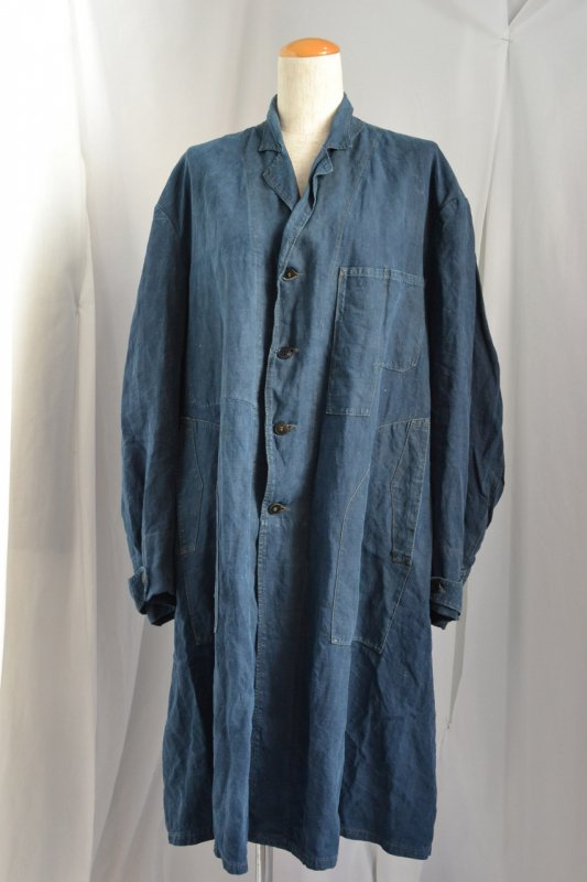 1930's France vintage indigo linen work coat