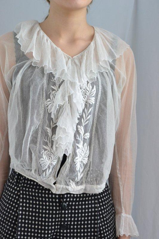 1910-20's France antique tulle blouse