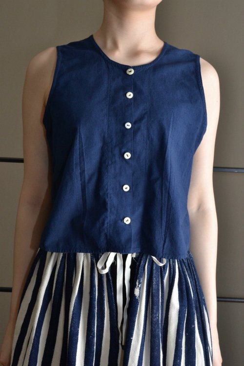 1900's France antique navy cotton sleeveless tops