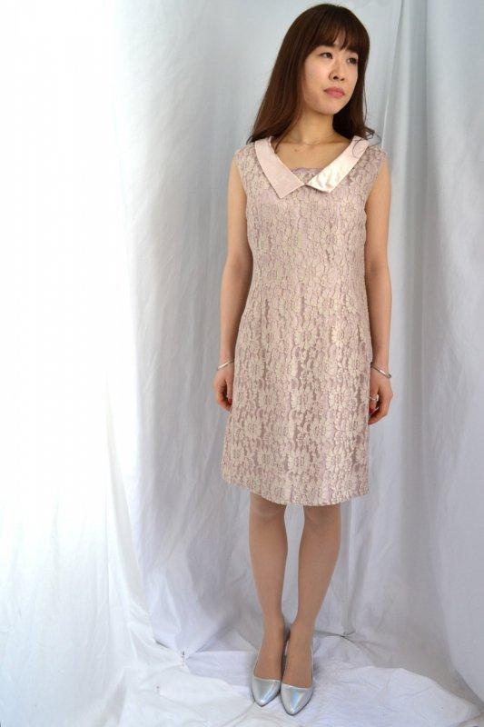 1950's vintage pale pink satin collar dress