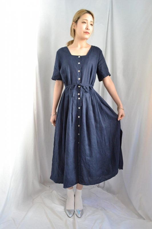 Vintage navy linen one-piece