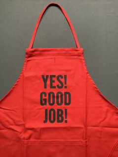 DRESSSENエプロン<br> TYPE:DR(RED)2<br> YES!GOOD JOB!(RED COLOR)