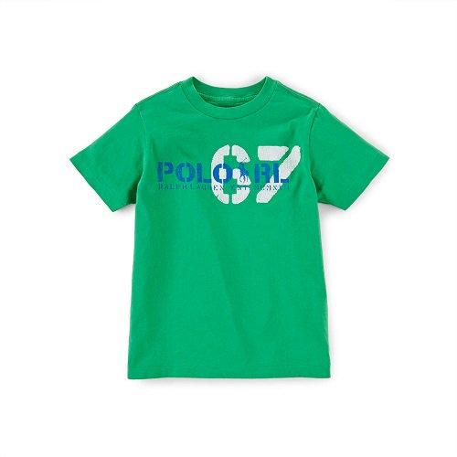 【ラルフローレン】 スクリーンプリントコットン半袖Tシャツ/グリーン☆3T〜7