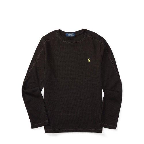 【ラルフローレン】 ワッフルニット長袖Tシャツ/ブラック☆S〜XL