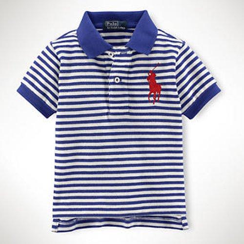 ○【ラルフローレン】訳あり!!ビッグポニー半袖ボーダーポロシャツ/ブルー☆24M