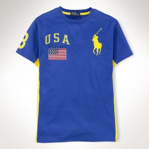 ○【ラルフローレン】訳あり!! ビッグポニーカラーブロック半袖Tシャツ/ブルー☆XL