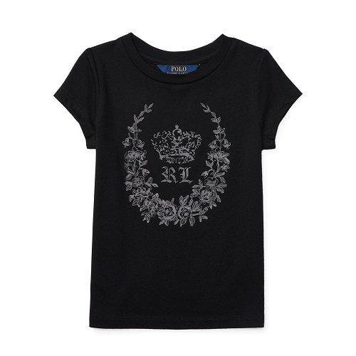 【ラルフローレン】 キャップスリーブグラフィックTシャツ/ブラック☆3T〜6X