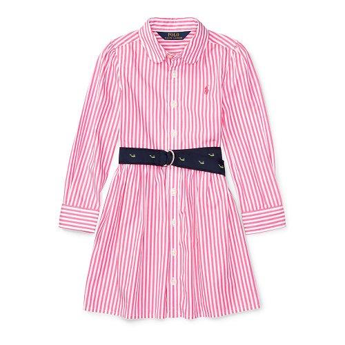 【ラルフローレン】ストライプコットン長袖シャツワンピース/ピンク☆3T~6X