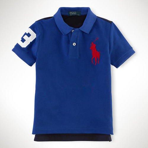 【ラルフローレン】 バックナンバー・ビッグポニーポロシャツ/ブルー☆12M・18M ・24M
