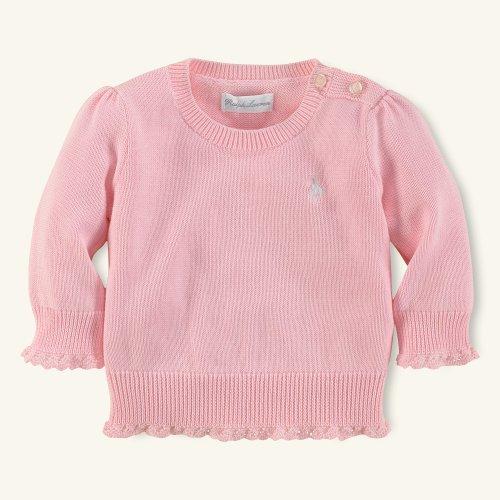 【ラルフローレン】 アウトレット★ピマコットンレースセーター/ピンク☆9M