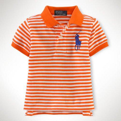 5c3b1c00bec67  ラルフローレン  ビッグポニー半袖ボーダーポロシャツ オレンジ☆12M・18M ・24M