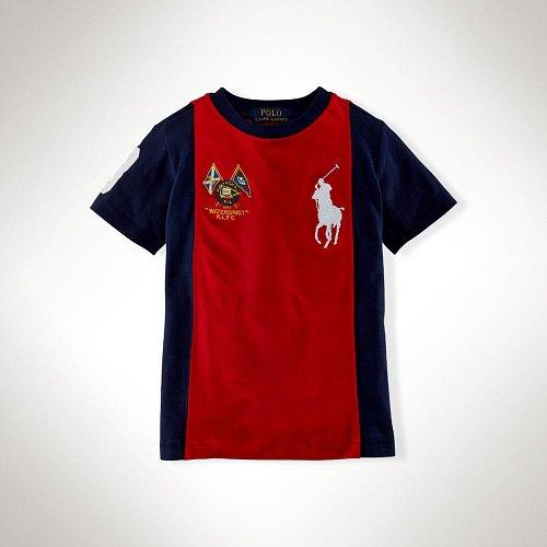 【ラルフローレン】 ビッグポニーパネルストライプ半袖Tシャツ/レッド☆3T〜7