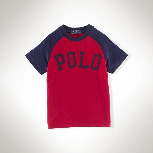 【ラルフローレン】 POLOベースボール半袖Tシャツ/レッド☆3T〜7