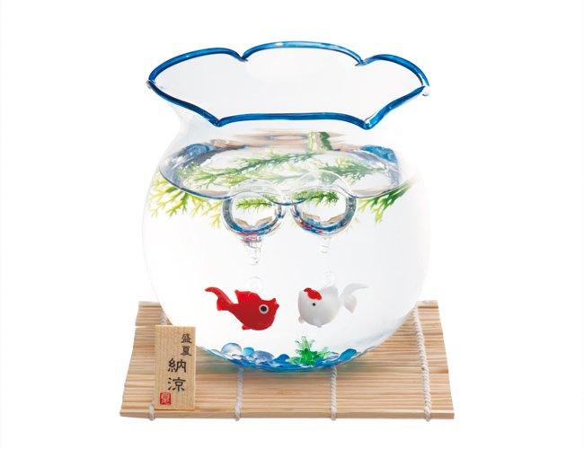 昔ながらの金魚鉢 涼しげな青セット