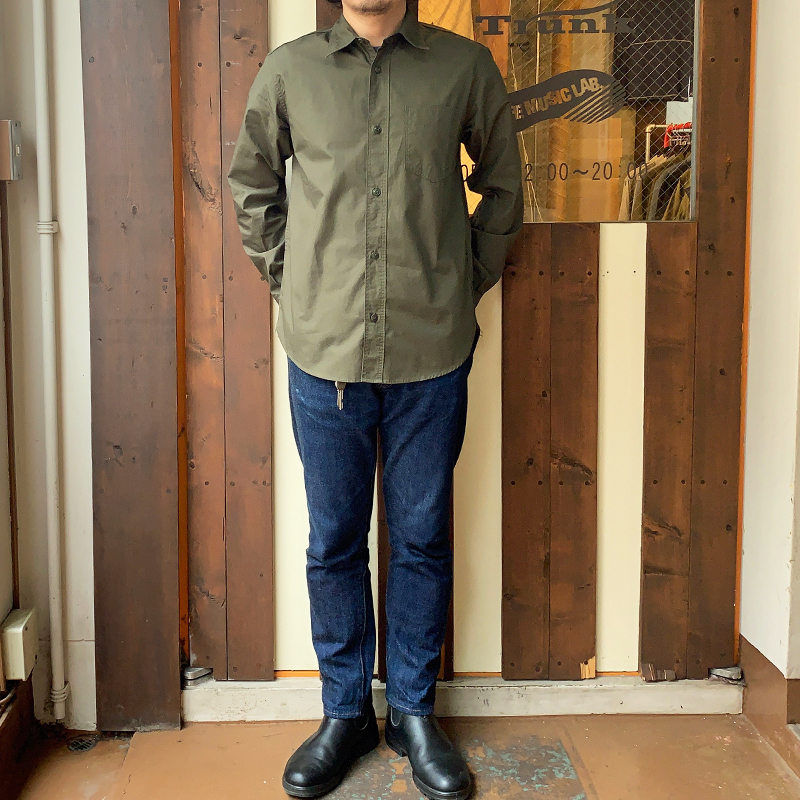 Workers(K&T H MFG Co.) 1 Pocket Work Shirt, Olive Poplin