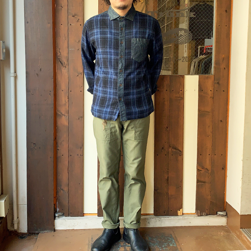 GO HEMP MELLOW CALLOR SHIRTS/INDIGO CHECK TWILL