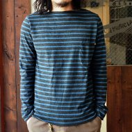ANACHRONORM<br/>Border Top Boatneck L/S Tee (CHARCOAL/BLUE)