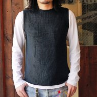 ANACHRONORM<br/>SILK COTTON RIB SWEATER VEST(BLACK NAVY)