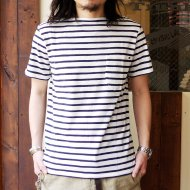 ANACHRONORM<br/>BORDER TOP BOATNECK TEE (OFF WHITE / NAVY)