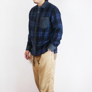 GO HEMP<br/>MELLOW CALLOR SHIRTS/INDIGO CHECK TWILL(BLUE)