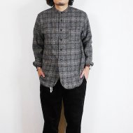 FOB FACTORY<br/>TWEED BAND COLLAR SHIRT(CHARCOAL)