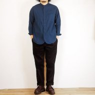 FOB FACTORY<br/>DYED BAND COLLAR SHIRT(BLUE)