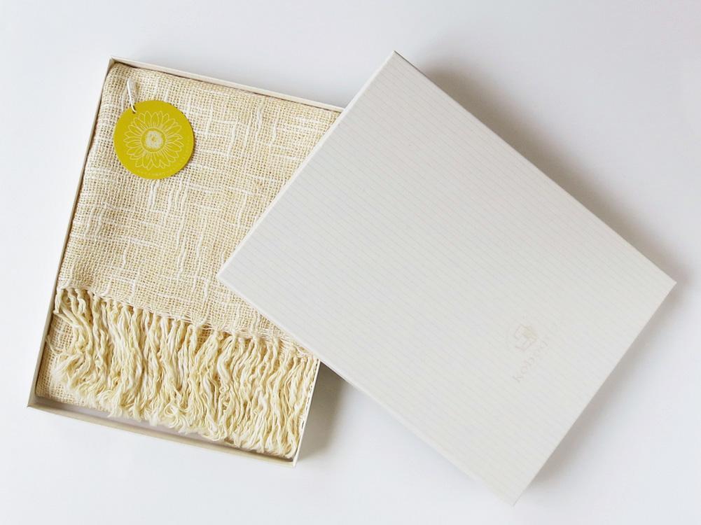麻とボタニカルオーガニックの節糸マフラー ヒマワリ