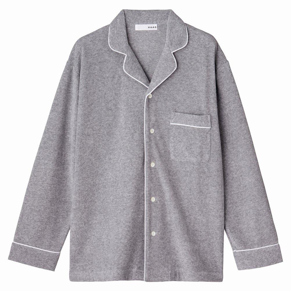 スマイルコットン 40パイル パジャマシャツ<グレー>【HAAG】【KISSO】