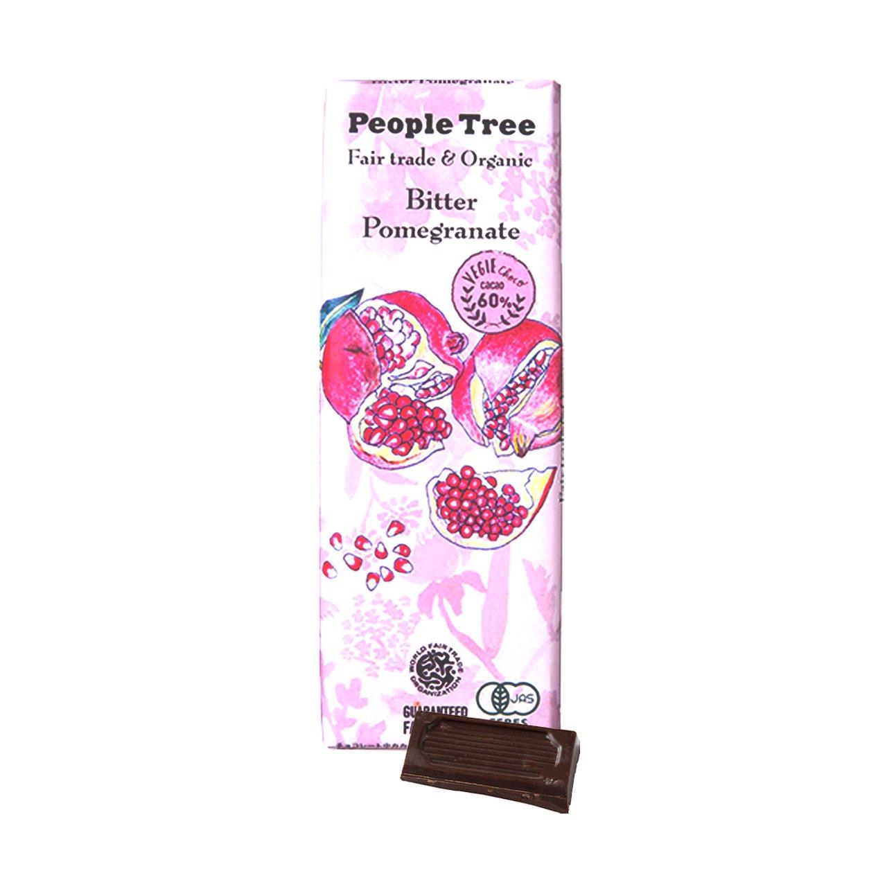 ★30%オフ★【People Tree】フェアトレード・板チョコレート ビター・ザクロ