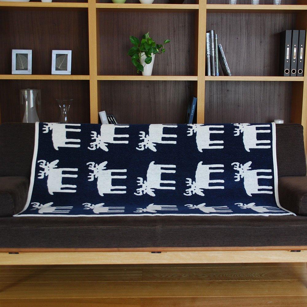 コットンハーフブランケット 90×140cm ムース(ネイビー)【KLIPPAN】