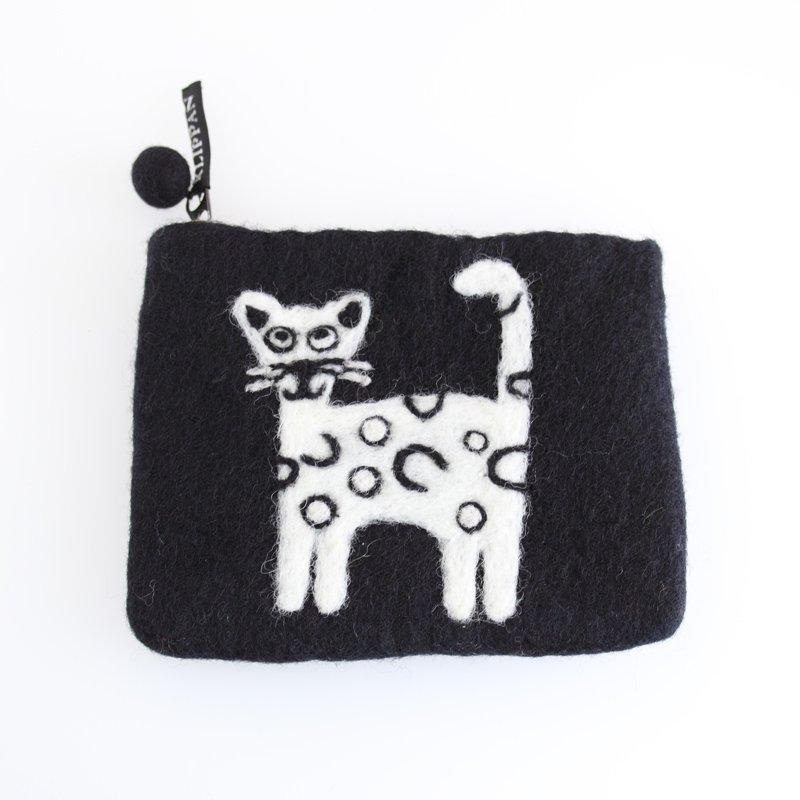 フェルトポーチ Cat/キャット(ブラック)【KLIPPAN】