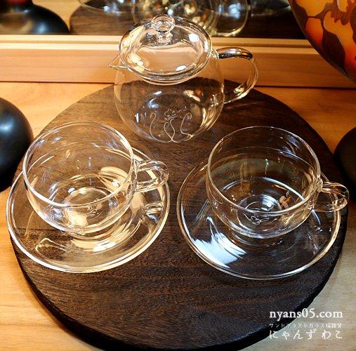 猫柄耐熱ガラス・ティーセット(ティーポット+カップ&ソーサ・ペア)T-SET-10