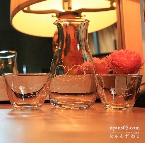 猫柄冷酒グラスセット(とっくり+お猪口ペア)  S-SET-6