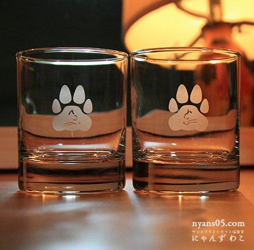 猫柄ロックグラス肉球(ペア)RG19