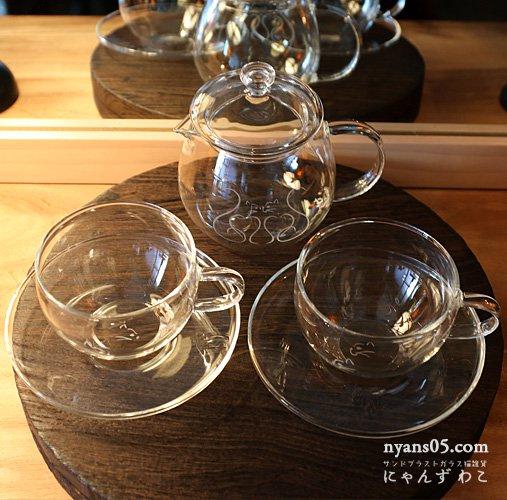 猫柄耐熱ガラス・ティーセット(ティーポット+カップ&ソーサ・ペア)T-SET-12