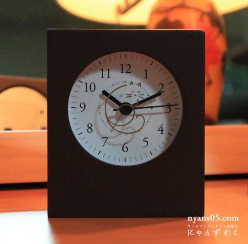 猫柄目覚まし時計(ダークブラウン・スクエアロング)CL-19