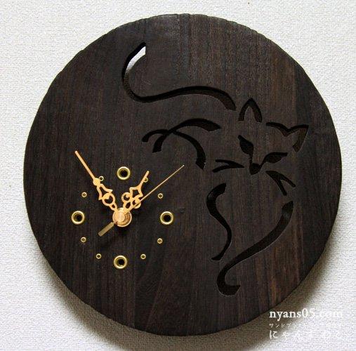 猫柄壁掛け木工時計 WC-S3