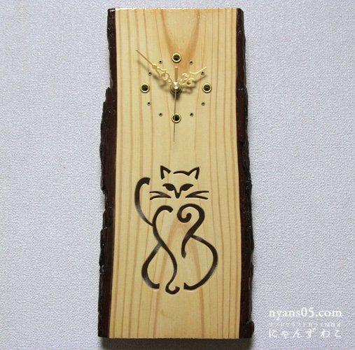 招き猫柄壁掛け木工時計 WB-N9