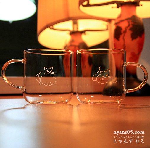 猫柄耐熱ガラスマグカップ(ペア)MC22