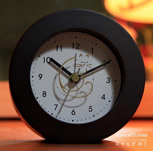 猫柄目覚まし時計(ダークブラウン・サークル)CL-22