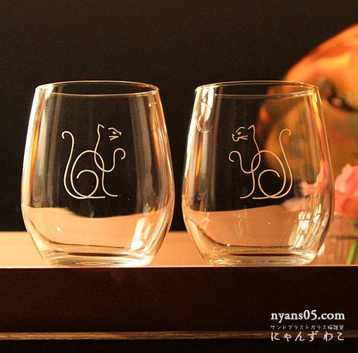招き猫柄カジュアルワイングラス(ペア)WG-20