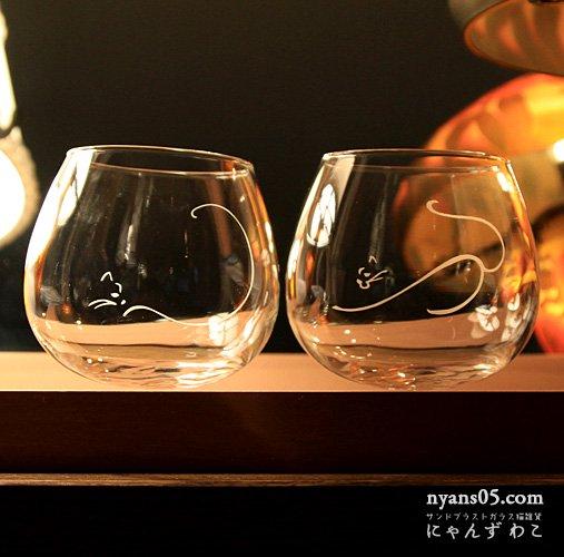 猫柄ワイングラス・だるま型(Lサイズ・ペア)WG-8L